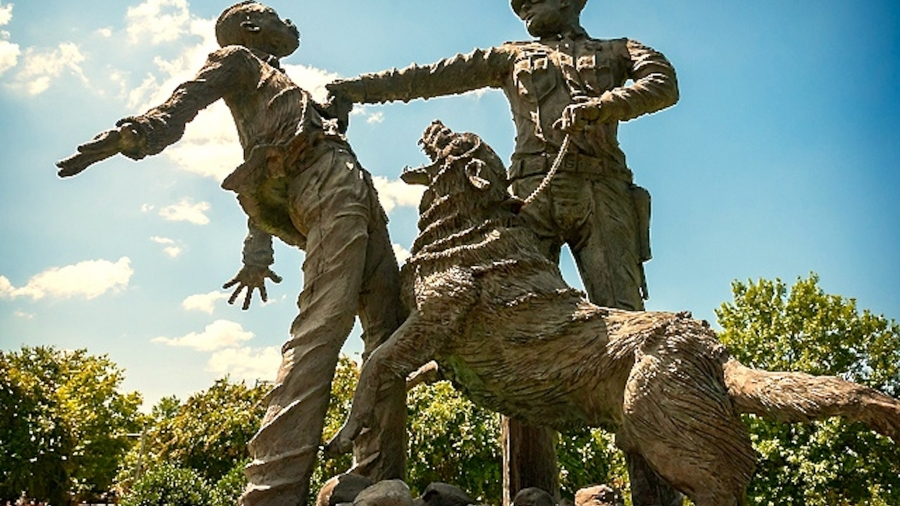 This statue sculpted by Dr. Ronald McDowell was commissioned by the City of Birmingham to honor Civil Rights foot soldiers.